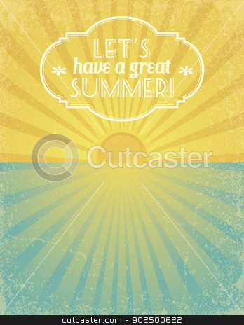 Let's Have a Great Summer stock vector clipart, Summer grunge textured background with banner. EPS10. by wingedcats