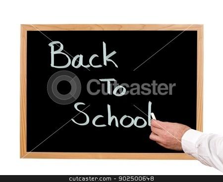 Back To School stock photo, Back to school written in chalk on a chalkboard. by Richard Nelson