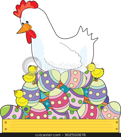 Chicken Easter Eggs stock vector clipart, A white mother hen sits on a nest of painted Easter eggs, while her chicks frolic about. by Maria Bell
