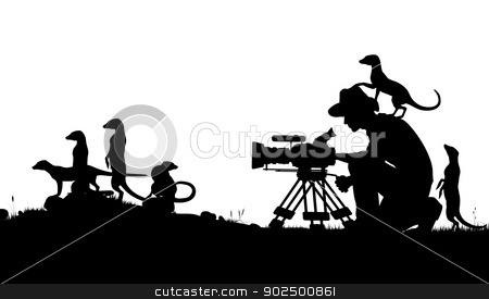 Wildlife cameraman stock vector clipart, Editable vector silhouettes of a cameraman filming meerkats with all elements as separate objects by Robert Adrian Hillman