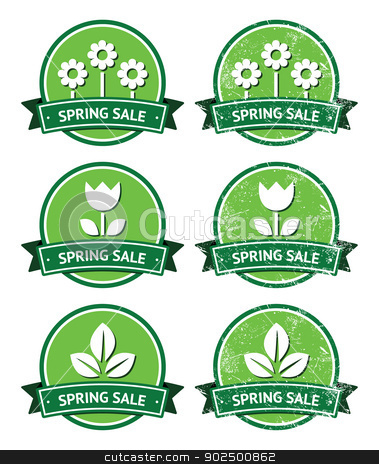 Spring sale retro green round labels - grunge style stock vector clipart, Seasonal sales vintage old scratched badges by Agnieszka Bernacka