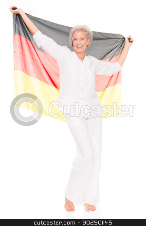 Senior soccer fan stock photo, German senior soccer fan in front of white background by Picturehunter