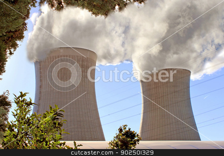 electric power of a nuclear stock photo, Chimneys of a nuclear power plant for renewable energy by Cochonneau