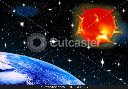 sun stars stock photo, sun stars of the sun against a backdrop of stars with a planet earth aerial view of space by Cochonneau