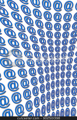 Arobase stock photo, several arobase of color blue embossed 3D aligned in perspective by Cochonneau
