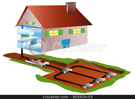 Geothermal stock photo, geothermal piping in the basement for a home, apparent domestic achitecture by Cochonneau