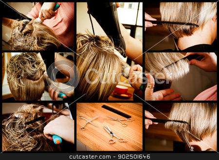 Hair styling stock photo, At the hairdresser's: a composite with the various stages of a stylist cutting and blow-drying a blonde woman's hair with highlights.  by Piccia Neri