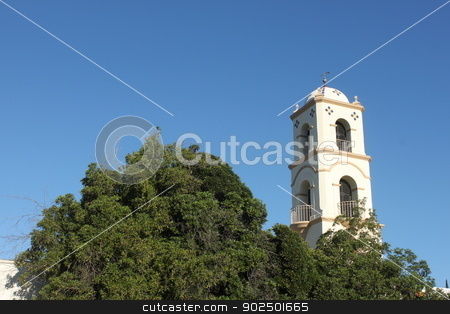 Ojai Post Office Tower stock photo, The Ojai Post Office Tower with a beautiful blue sky in the background. by Henrik Lehnerer
