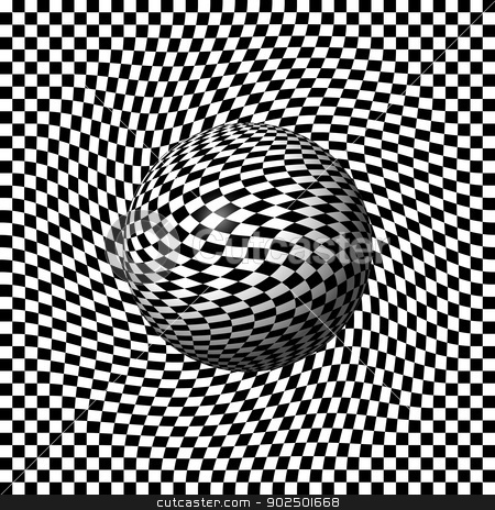 Sphere Abstract Pinch stock photo, Black and white grid build an abstract globe or sphere. by Henrik Lehnerer