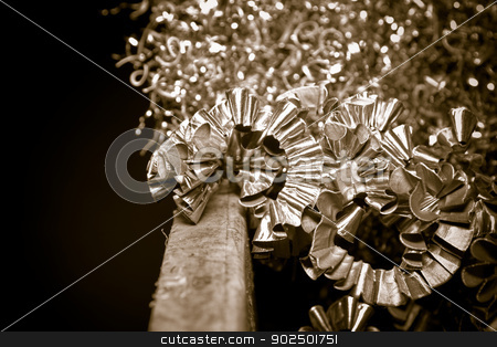 CNC metal shavings stock photo, Detail of a heap of CNC metal shavings. by Piccia Neri