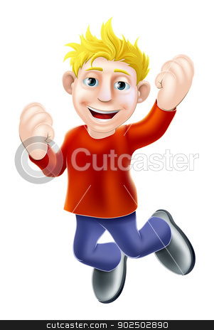 Happy man jumping stock vector clipart, A cartoon casually dressed man happily jumping in the air by Christos Georghiou