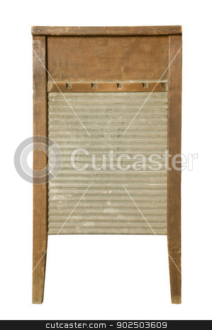 Antique Washboard stock photo, Antique washboard against white by J.R. Bale