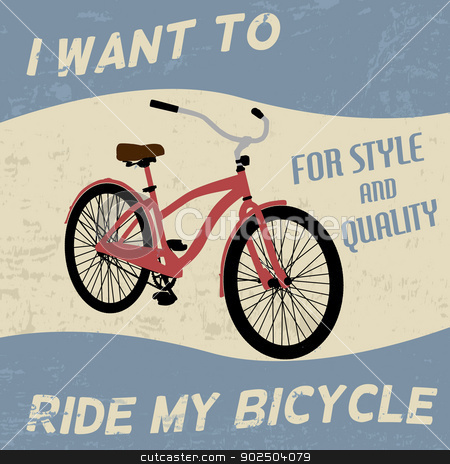 Bicycle vintage poster stock vector clipart, Bicycle vintage grunge poster, vector illustration by radubalint