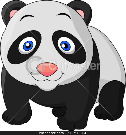 Cute baby panda cartoon stock vector clipart, Vector illustration of Cute baby panda cartoon by Teguh Mujiono
