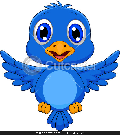 Cute blue bird cartoon stock vector clipart, Vector illustration of Cute blue bird cartoon by Teguh Mujiono