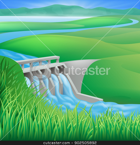 Hydro dam water power energy illustration stock vector clipart, Illustration of a hydroelectric dam generating power and electricity  by Christos Georghiou