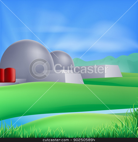 Nuclear power energy illustration stock vector clipart, Illustration of a nuclear power plant generating power and electricity  by Christos Georghiou