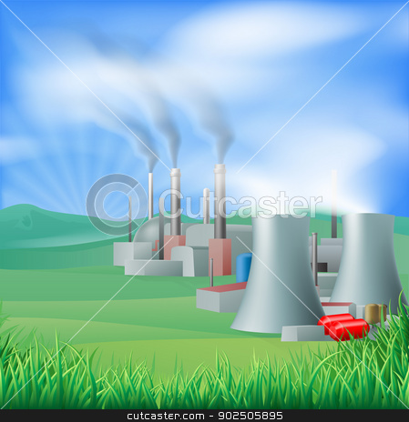 Power plant energy generation illustration stock vector clipart, Illustration of a power plant generating power and electricity. Could be fossil fuel or other plant with chimneys and cooling towers, e.g. geothermal by Christos Georghiou