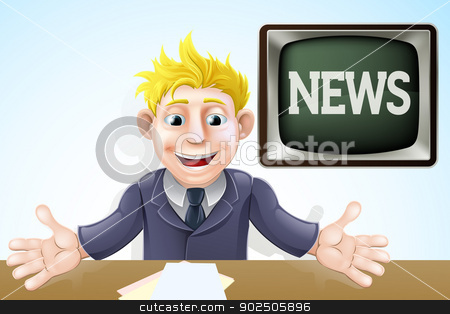 TV Newscaster cartoon stock vector clipart, Drawing of a cartoon TV Newscaster at his desk by Christos Georghiou