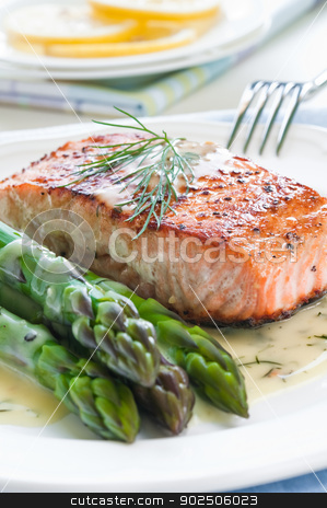 Salmon with Asparagus stock photo, Grilled salmon with asparagus and dill sauce on white plate by Tiramisu Studio