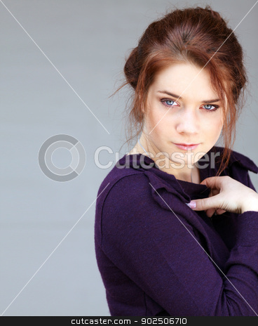 Portrait of beautiful woman on outdoor stock photo,  Portrait of young sad woman by andersonrise