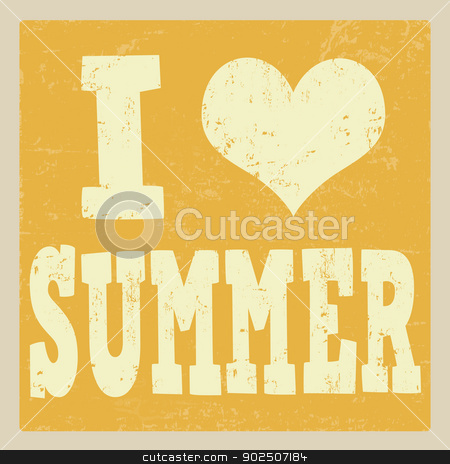 I love summer poster stock vector clipart, I love summer vintage grunge poster, vector illustrator by radubalint