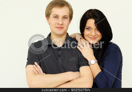 portrait of young happy man and woman  stock photo, Closeup portrait of young happy man and woman couple in love  by andersonrise