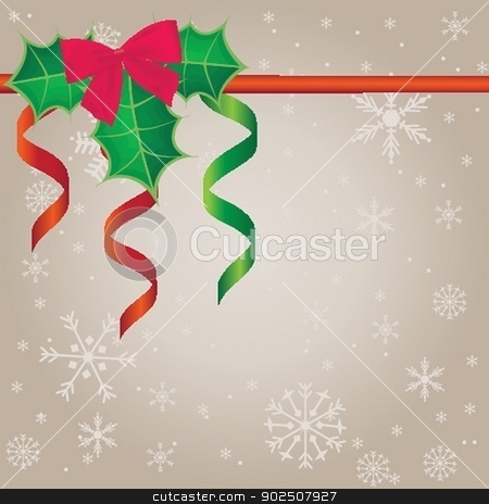 Holiday background with holly berries. stock photo, Vector holiday background with holly berries. by Maria Cherevan