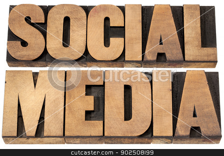 social media in wood type stock photo, social media - isolated text in vintage letterpress wood type printing blocks by Marek Uliasz