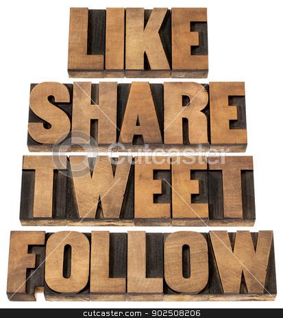like, share, tweet, follow stock photo, like, share, tweet, follow words - social media concept - isolated text in vintage letterpress wood type printing blocks by Marek Uliasz