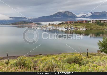 Lake Dillon marina stock photo, Lake Dillon in Colorado Rocky Mountains, early morning in summertime by Marek Uliasz
