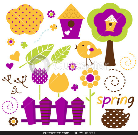 Cute spring garden vector set isolated on white ( retro ) stock vector clipart, Spring retro floral design elements. Vector by Jana Guothova