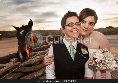 Same Sex Newlyweds with Horse stock photo, Boyish groom and lesbian bride outdoors near horse by Scott Griessel