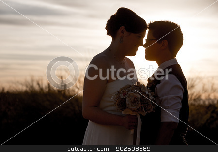 Gay Couple Touching Noses stock photo, Happy married homosexual couple outdoors at sunrise by Scott Griessel