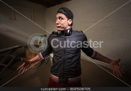 Man with Expression stock photo, Exaggerating young man with arms wide open by Scott Griessel