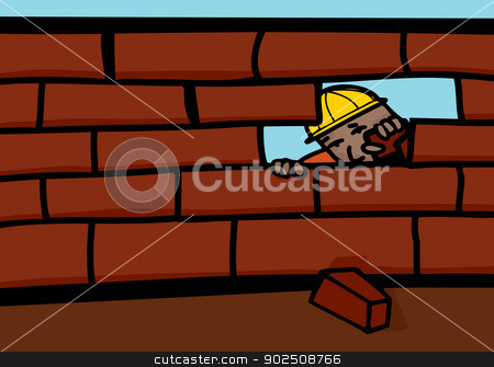 Bricklayer Closing Wall stock vector clipart, Bricklayer peeking through hole in brick wall by Eric Basir