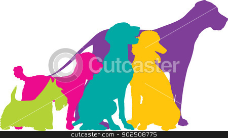 Dog Silhouettes Colour stock vector clipart, A group of five dogs, a Scottie, Mixed, German Pointer, Poodle and Great Dane are silhouetted in a variety of bright colours. by Maria Bell