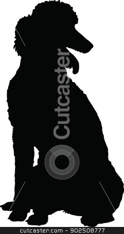 Poodle Silhouette stock vector clipart, A Poodle dog shown in sitting position in black silhouette profile. by Maria Bell