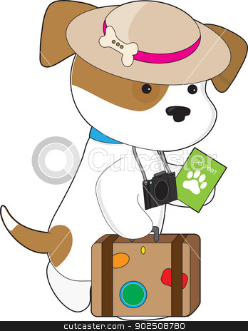 Puppy Travel stock vector clipart, A cute puppy carrying passport, luggage and camera is heading off to its destination. by Maria Bell