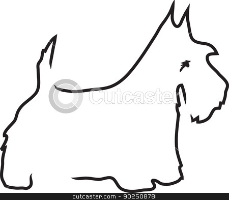 Scottie Lines stock vector clipart, A black outline of a Scottie dog in profile. by Maria Bell