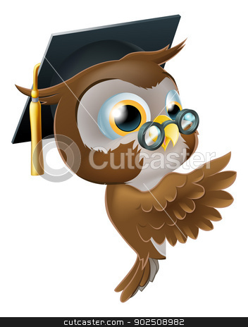 Wise Owl Pointing Sign stock vector clipart, Illustration of a happy cute wise old owl leaning or peeking round a sign and pointing at it by Christos Georghiou