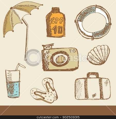 Summer holiday doodle collection stock photo, Summer holiday doodle collection by Maria Cherevan