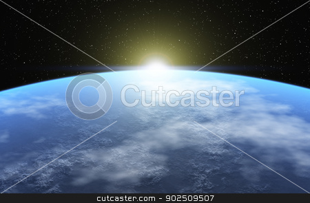 Cold Planet stock photo, This image shows a frozen planet with atmosphere by kirschner