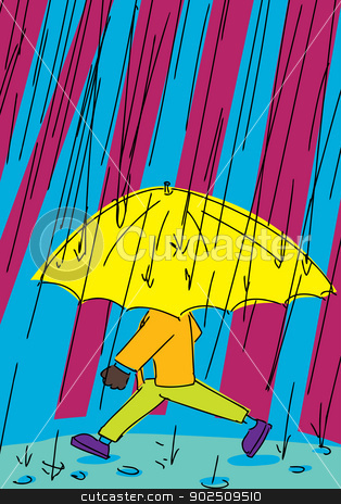 Person Walking in Rain stock vector clipart, Person partially hidden with umbrella walking in the rain by Eric Basir