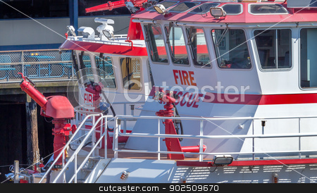 Red and White Fiireboats Buildings Waterfront Seattle Washington stock photo, Red and White Fireboats with Water Guns at Pier Buildings Waterfront Seattle Washington by William Perry