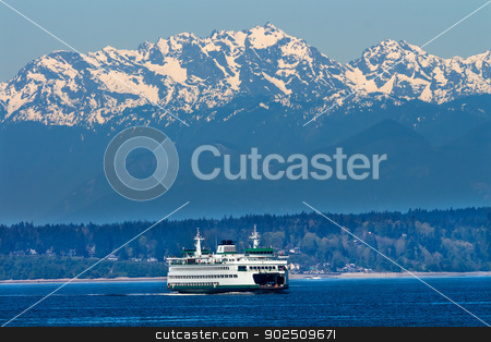 Seattle Bainbridge Island Ferry Puget Sound Olympic Snow Mountai stock photo, Seattle Bainbridge Island Car Ferry Puget Sound Olympic Snow Mountains  Washington State Pacific Northwest by William Perry