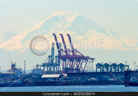 Seattle Port with Red Cranes and Boats with Mt Ranier in the bac stock photo, Seattle Port with Red Cranes and Mt Ranier in the Background  by William Perry