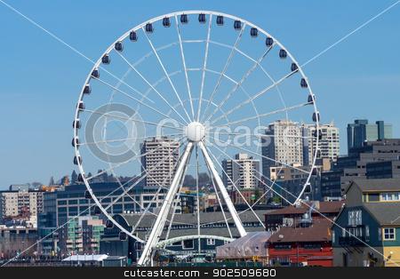 Ferris Wheel Buildings Waterfront Seattle Washington stock photo, Big Ferris Wheel Buildings Waterfront Seattle Washington by William Perry