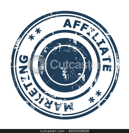 Affiliate marketing concept stamp stock photo, Affiliate marketing concept stamp isolated on a white background. by Martin Crowdy