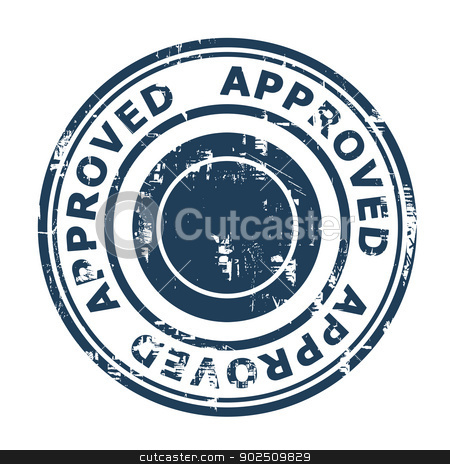 Approved business concept stamp stock photo, Approved business concept stamp isolated on a white background. by Martin Crowdy